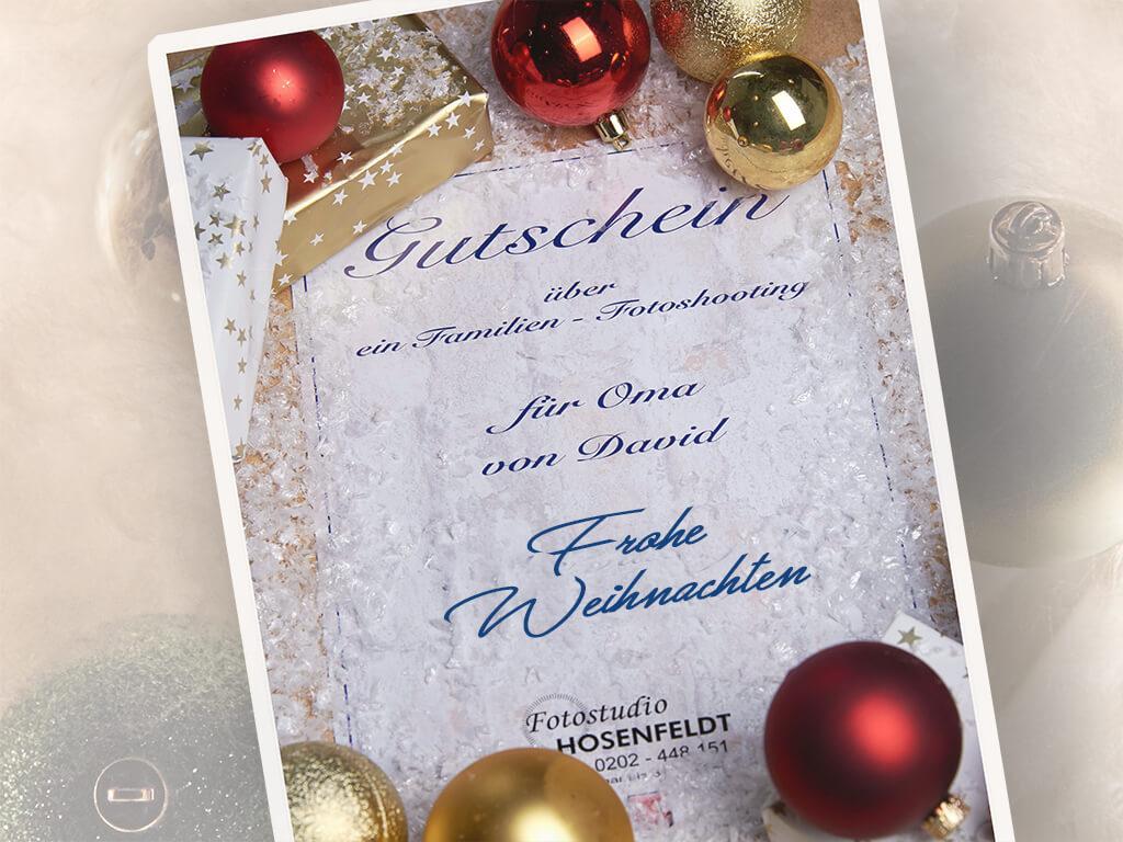 Gutscheinzu Weihnachten Fotostudio Hosenfeldt