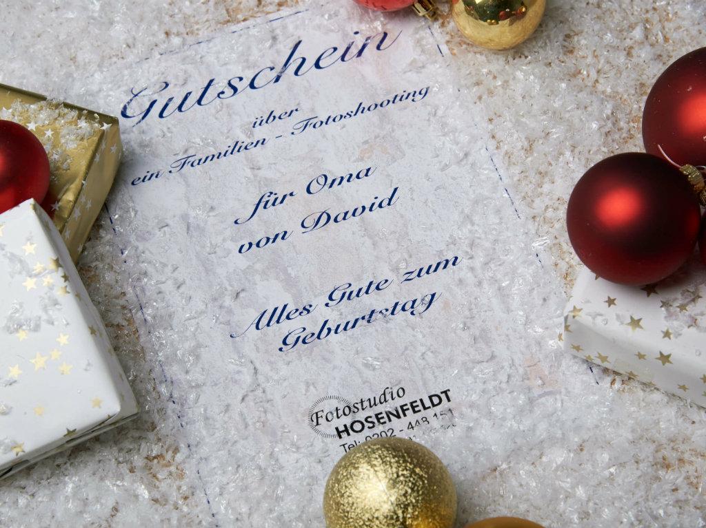 Gutschein Fotoshooting Familie Weihnachtlich